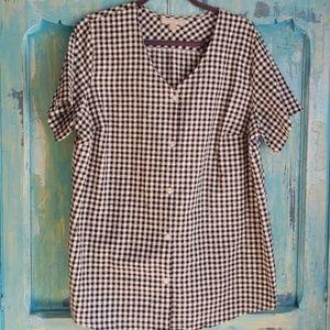 Black checkered tunic sz 18